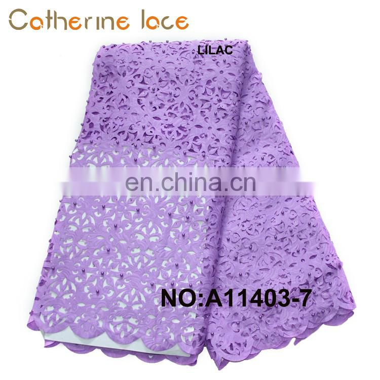 Catherine African Wedding New Designs Fashionable Beaded Laser Cut Lace