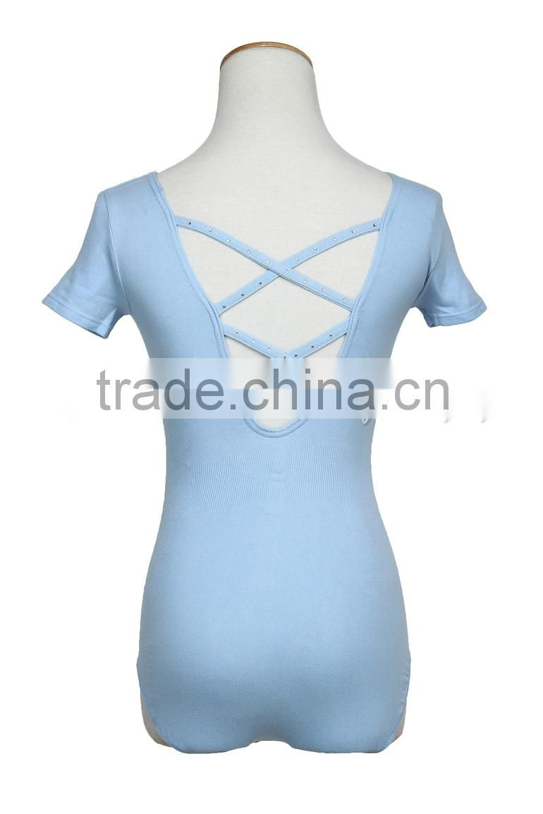 D005754 Short sleeve sexy cotton ballet leotard with rhinstone for women and girls