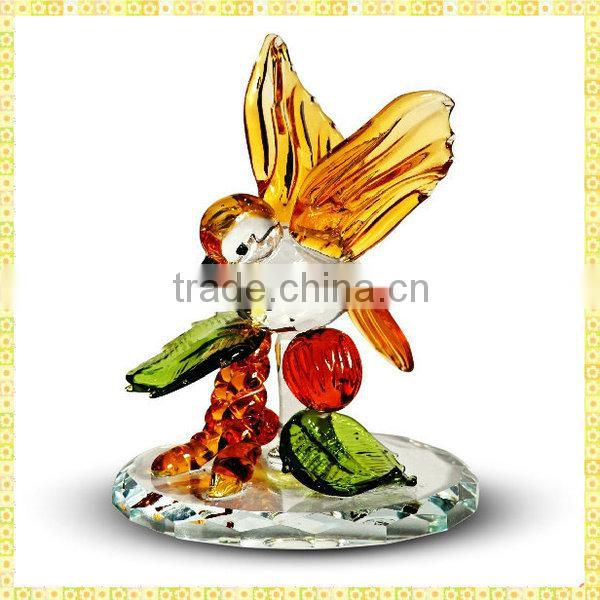 Hot Sale Pink Crystal Butterfly Figurines For Desktop Centerpieces