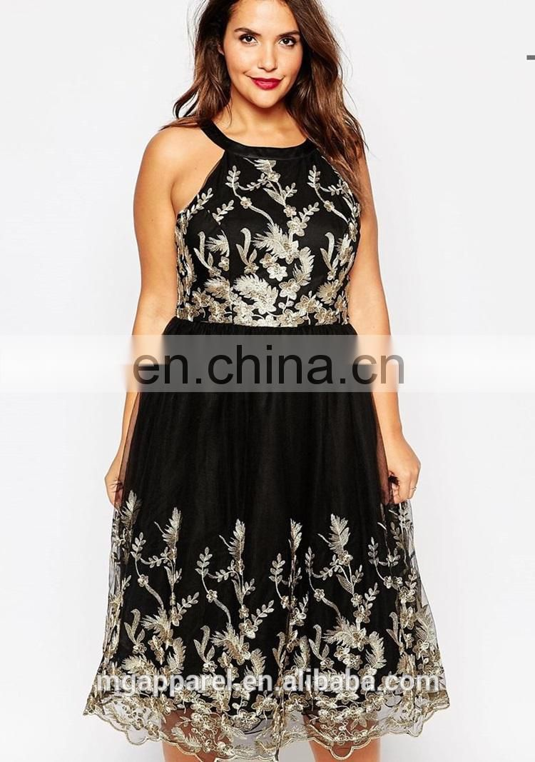 Wholesale party dresses for fat girls plus size embroidered ...