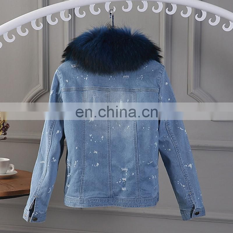 Royal blue big raccoon fur collar parka high quality fox fur liner parka