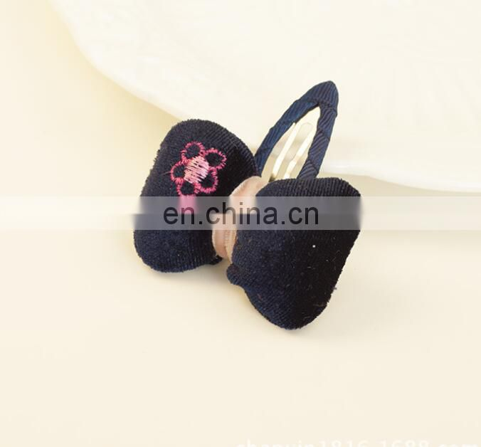 Bow Hair Girl Snap Clip Embroidery Flower Baby Barrettes Festival Fashion