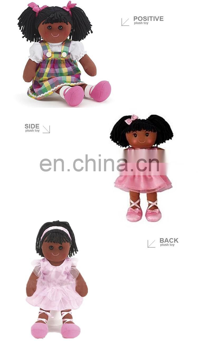 Wholesale Custom Human Plush Black Dolls With Afro Hair
