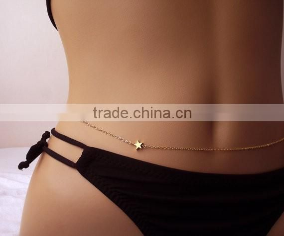 fashion sexy waist chains Personality waist chain five-pointed star of love slave woman chain