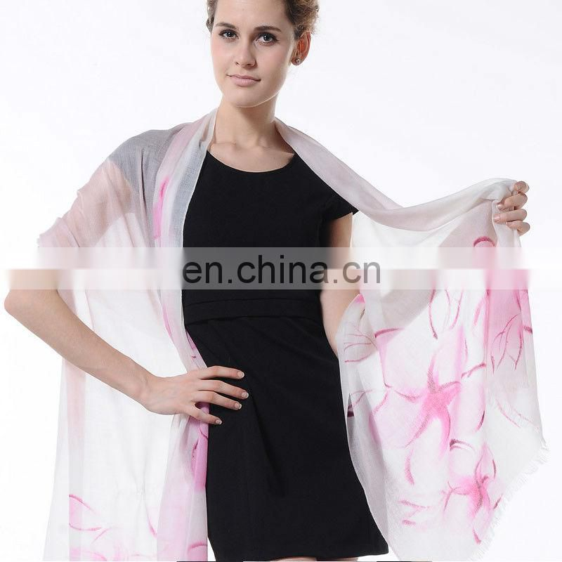 Peony flower printed cashmere scarf shawl