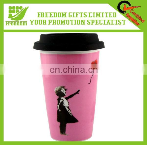 Customized Ceramic Mug With Silicone Lid