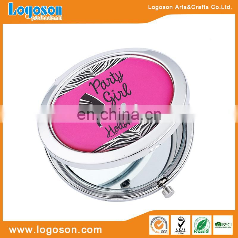 Pink compact botton mirrors wholesale pocket metal mirror