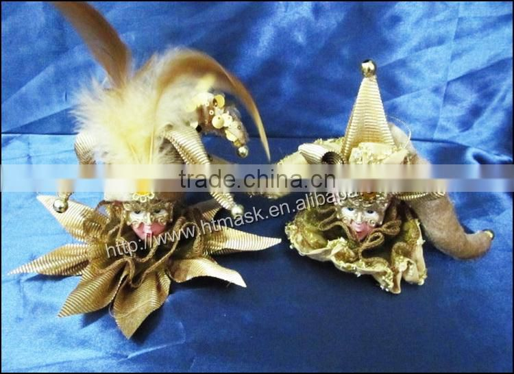 Christmas Tree Ornament Cute Elves Head ox horn Toys Christmas Ornaments with Rhinestone and gold eyelid