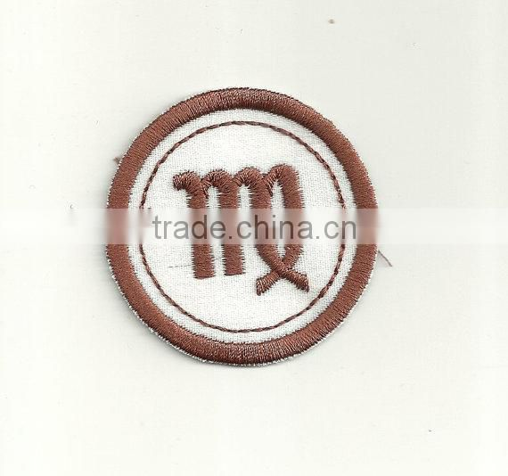 Custom high quality embroidered zodiac patch for clothes embroidery patch made in china choose size/color