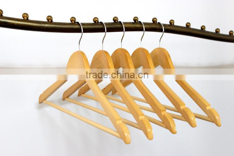 Lovely normal solid wooden hanger wood bottom pants hanger low-price wooden shirts hanger