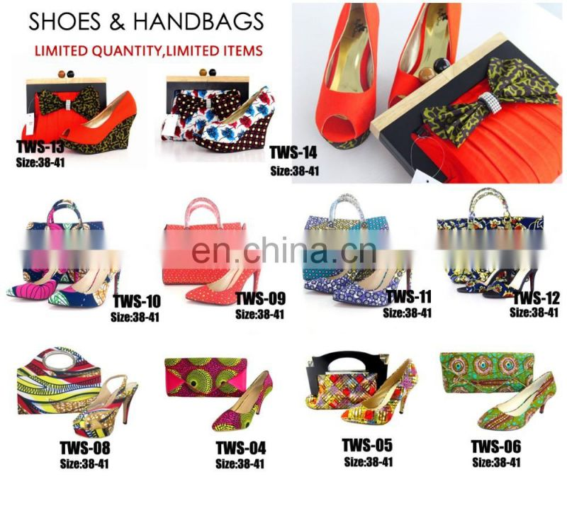 TW-11 African high heel wax shoes/wax print shoes matching bags/wax print shoes for laides party