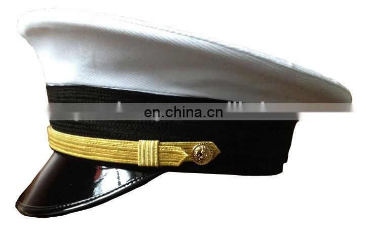gold braid and embroidered logo on front military peak cap