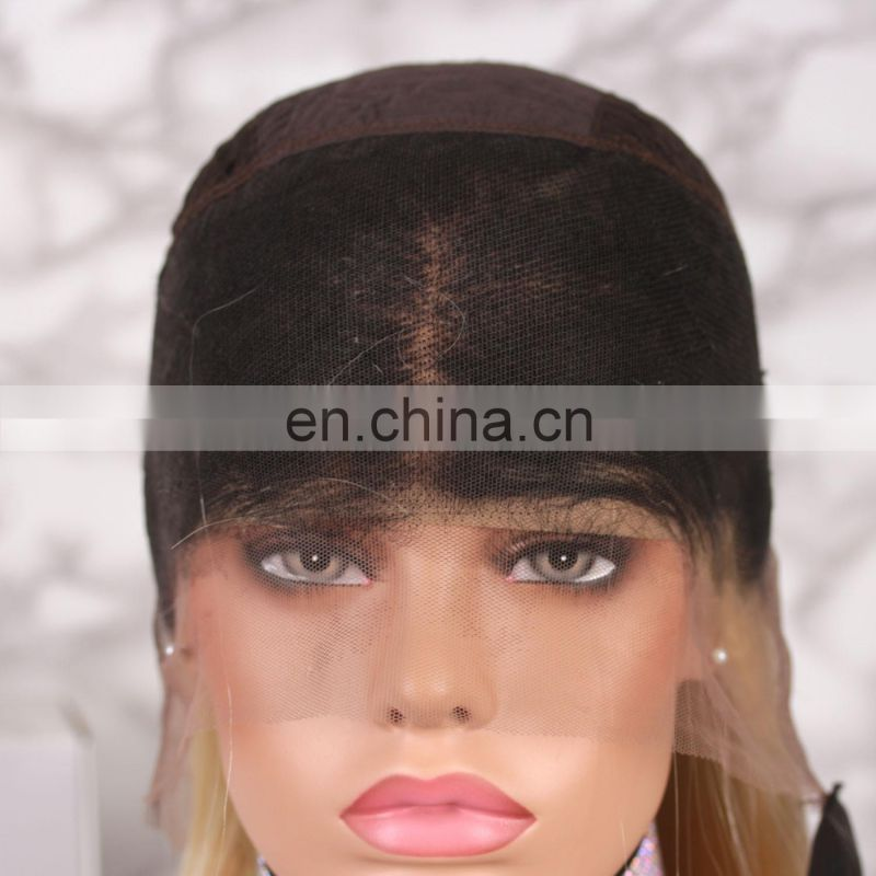 Ombre Blonde Color Virgin Brazilian Hair Straight Human Hair Lace Wig blonde lace front wig