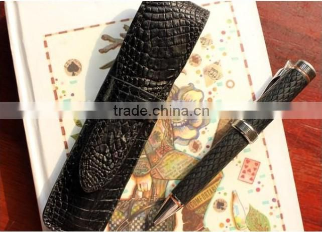 genuine crocodile leather pen gift bag