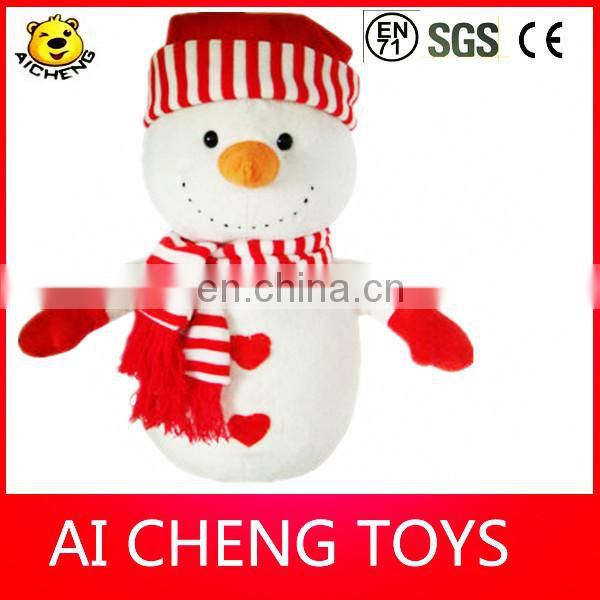 lovely plush christmas snowman toy with scarf and hat