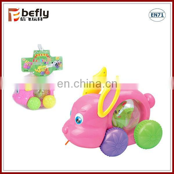 Baby cartoon rabbit pull and push toy with music and light