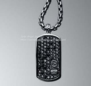 925 Silver Designs Inspired DY Pave Black Diamond Dog Tag Men Necklace Image