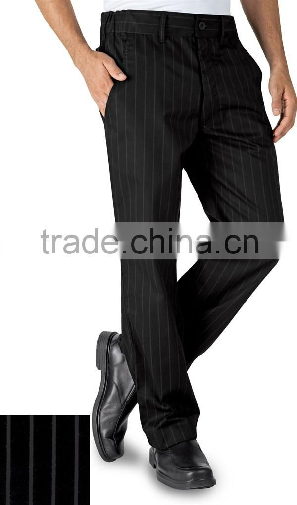 Black 100% Cotton Straight Leg Stripe Executive Chef Pants Uniform