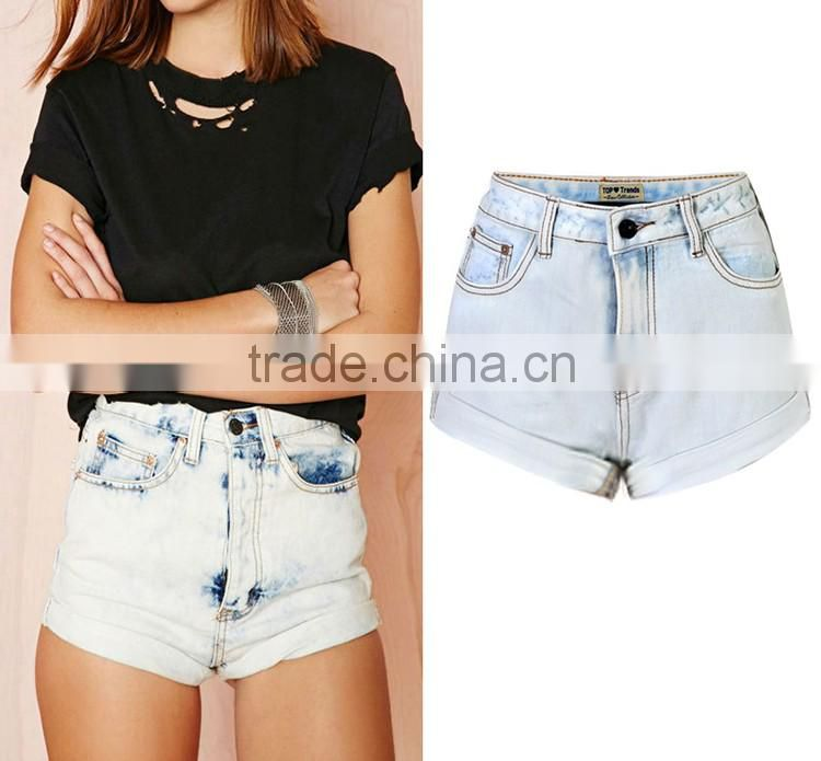 2016 Summer Fashion Women Vintage Torn Jeans Short Pants Hot Sexy Bottom Hem Rolled Up Distressed High Waist Ladies Shorts