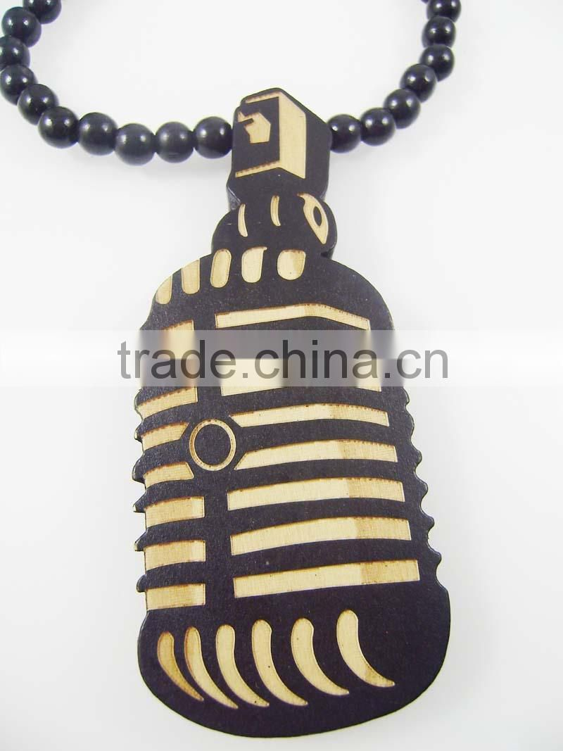 Men's microphone good Pendants Fashion Wood Hip Hop Rosary Chain Beads Necklaces
