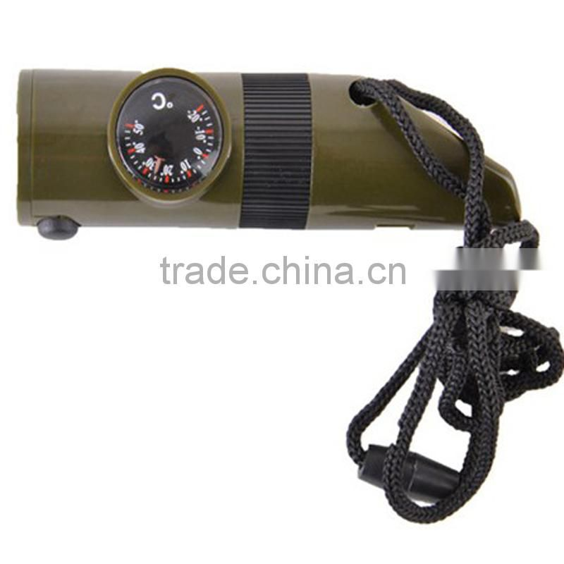 7 in 1 multi functional survival emergency outdoor whistle with compass LED light thermometer