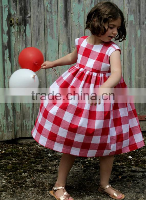 448adb5bf Red Gingham Kid Dress Summer Toddler Girls Clothes Checked Baby Girl ...