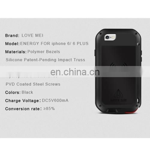 Metal Protective Case with QI Standard Wireless Charger Receiver and Gorilla Toughened Glass Film for iPhone 6