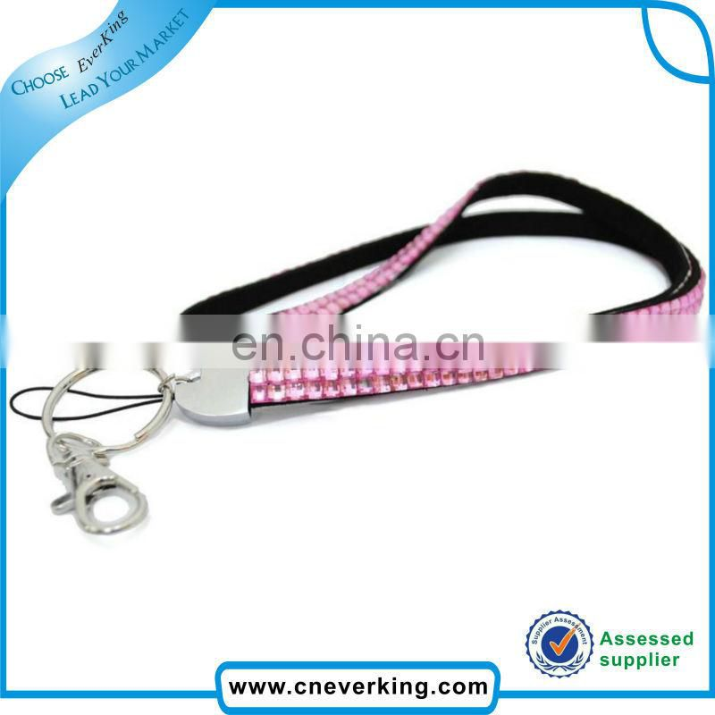 Hot selling wholesale diamond crystal rhinestone badge lanyards