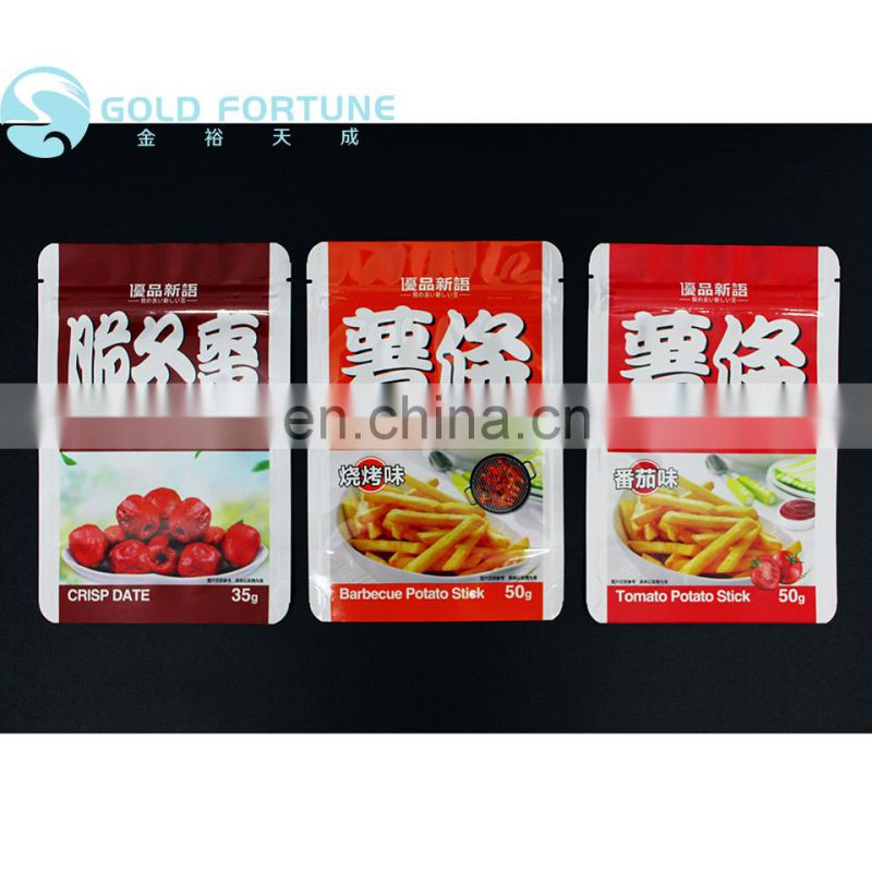 Biodegradable food packaging plastic zipper bag for french fries and other snacks
