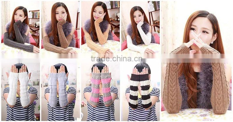 2015 Factory price knitted gloves popular style brown knitted gloves screw thread knitted gloves