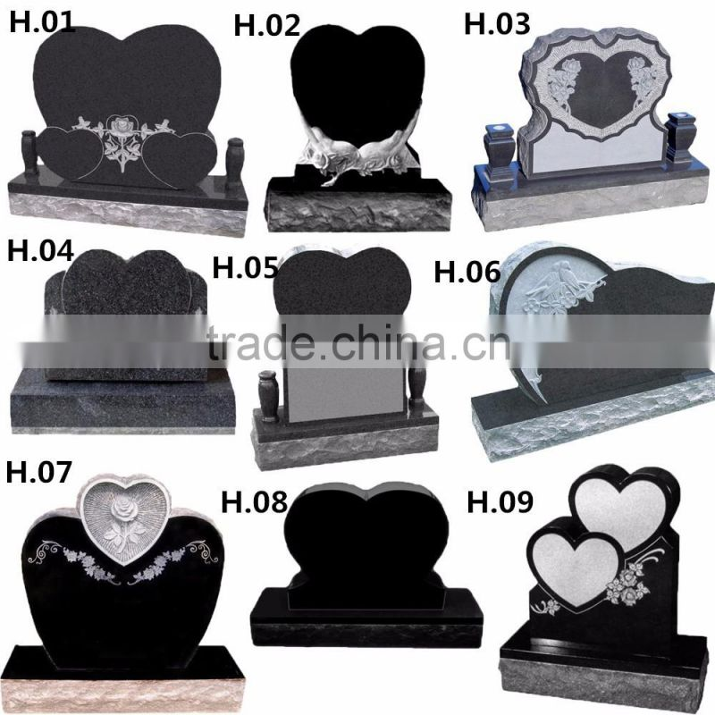 New design mirror polished black granite carved heart shaped headstone for resell NTGT-067L