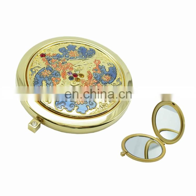 Double sides foldable pocket round makeup mirror metal compact cosmetic mirror