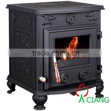 Cast Iron stove Glass Door Wood&Coal Burning Fireplace&Parts,heating area 90-300sqm