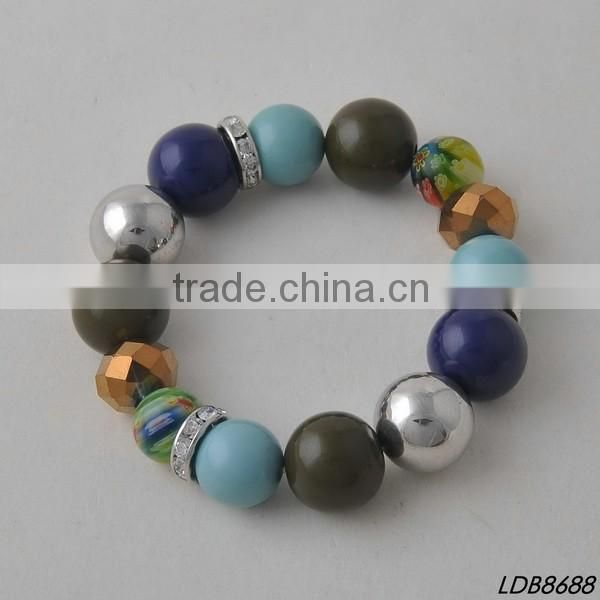 2016 new designs simple alone large faceted glass women bracelet