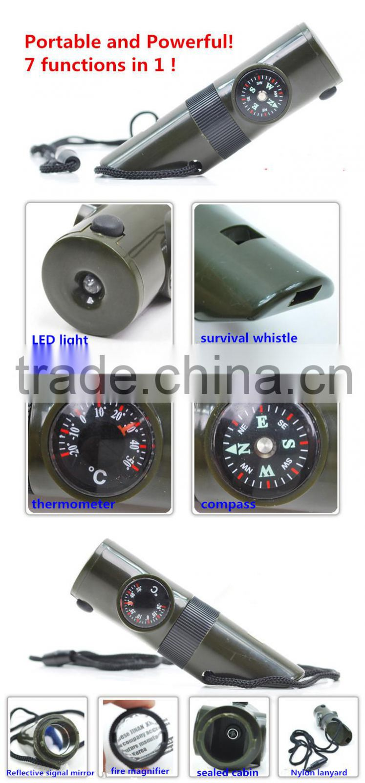 outdoor camping 7 in 1 multi functional survival emergency whistle with compass LED light thermometer