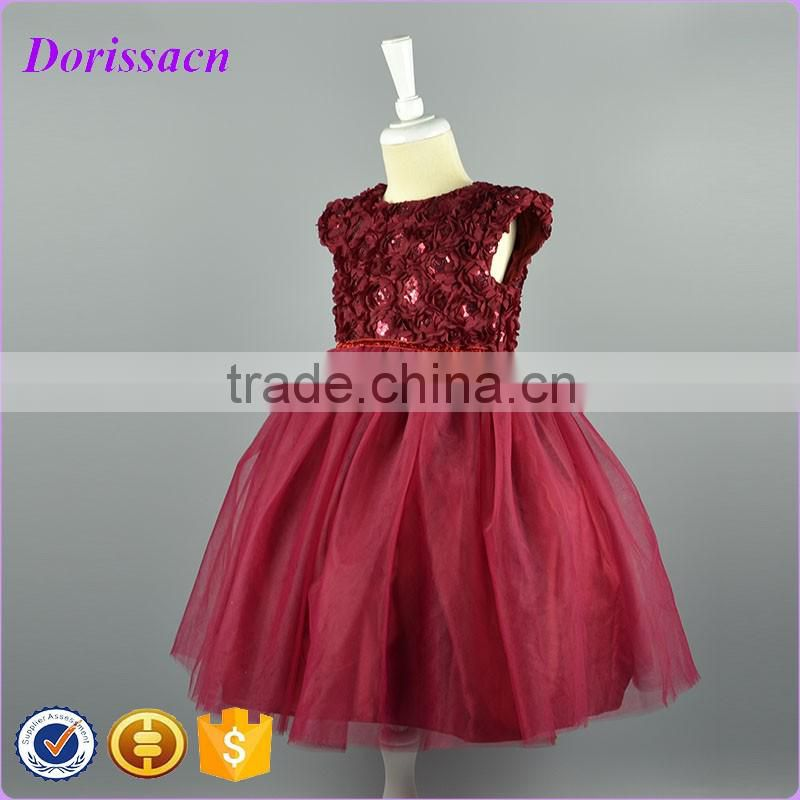 Latest Baby Girl Party Dress Children Frocks Designs Party Ball Gown Satin Fabric Embellished Rose Sash Child Dress