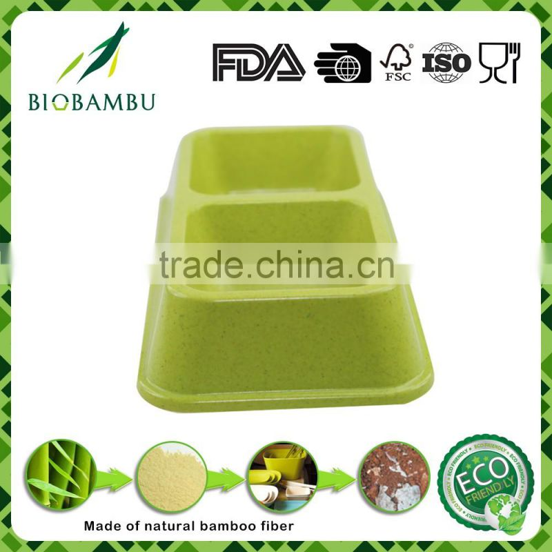 Reasonable price Diswasher safe Corn starch bamboo fiber pet double bowl