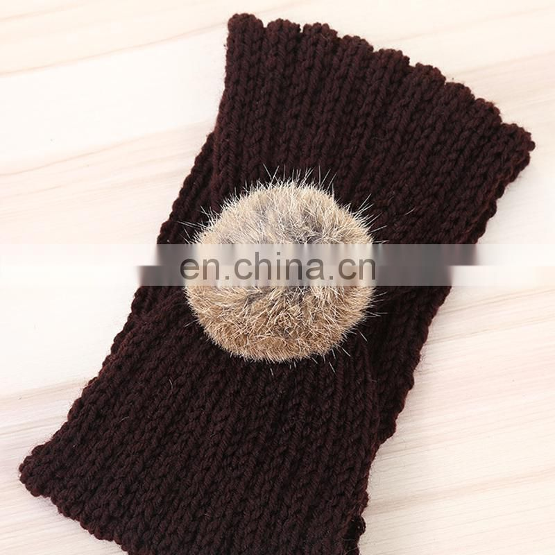 Natural rabbit fur pompom headband wholesale winter knit headband