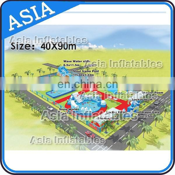 New Design Inflatable Movable Ground Zoo Water Park For Amuse Park