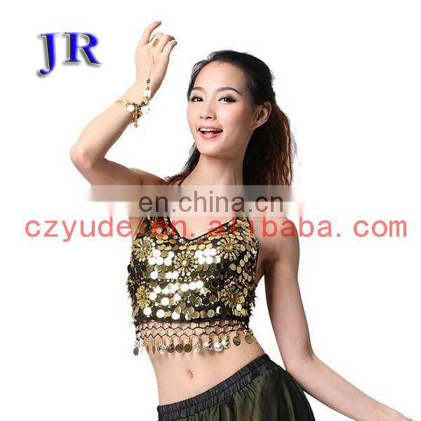 Arabic style sexy sequins belly dance tops wear with five flowers S-3011#