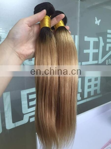 1B 27 Blonde color Straight good humen remy peruvian ombre virgin hair