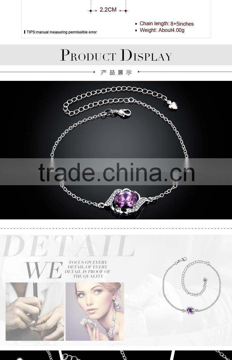 Adjustable charm ankle chain indian silver plated not gold anklets with artificial stone