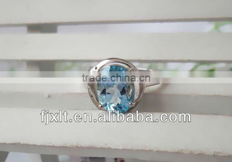 Latest Romantic 925 Sterling Silver Blue Topaz Jewelry Engagement Ring