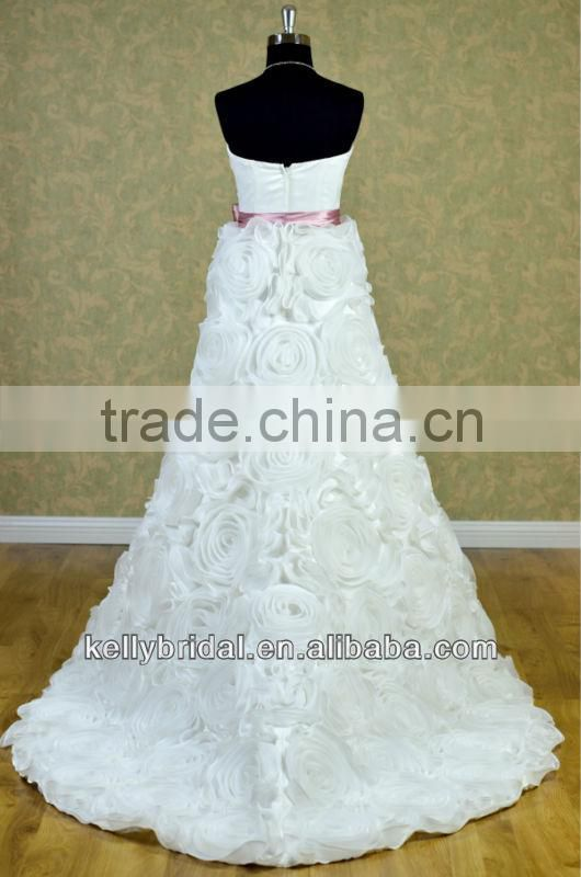 New style strapless intensive hand make flowers discount bridal gown