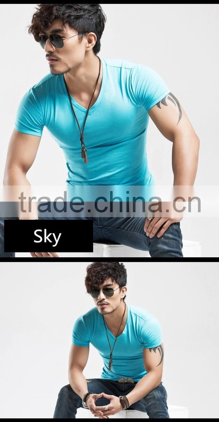 2016 Latest Style China Manufacturer lycra cotton Slim Fit men's t shirt