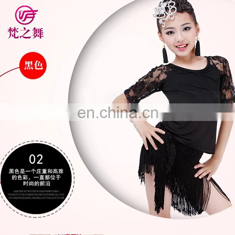 Hot sale high lace tassel 3pcs children latin dance top and scarf suit with size S M L XL ET-097