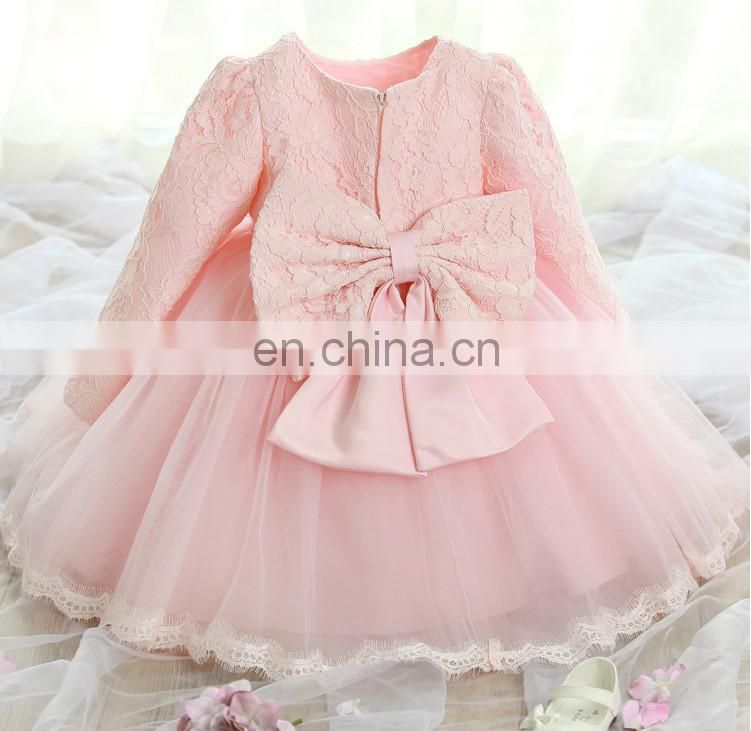 White Lace Baby Girl Dress Long Sleeve Wedding Church Dress Christening Wear