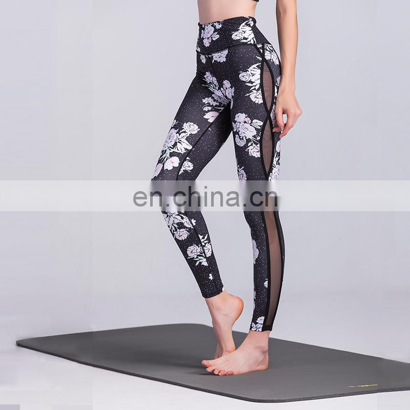 Meth print piece together active women tight fitness leggings sport pants