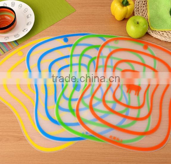 Good design flexible ultra-thin transparent fruit vegetable chopping board/cutting board