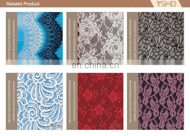 High quality fashion elastic knitted spandex luxury lace fabric